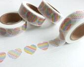 Rainbow Heart Washi / Masking Tape - 10M