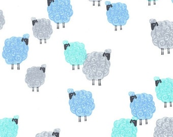 Michael Miller Fabric Eyes on Ewe Baa Baa Baby in Blue Cotton Fabric
