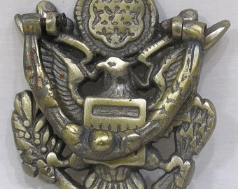 Vintage Cast Iron Door Knocker Eagle with Arrows Wheat