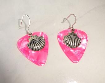 Hot Pink Shell Guitar Pick Earrings Tortoise Finish Handmade