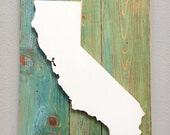 "Handcrafted State Wood Cutout Wall Decor (Large 15""x 20"") - Solid Wooden Wall Art. State Home Decor. California, Texas, and all US states"