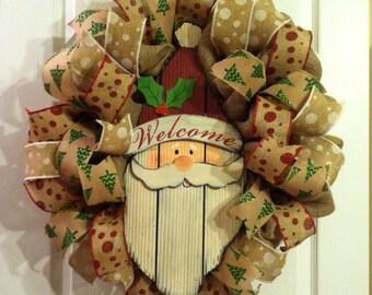 Christmas Wreath/ Burlap Christmas Wreath/ Santa Wreath/ Christmas Door Decor