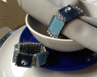 Blue Glass Party Napkin Rings For All Party Occasions