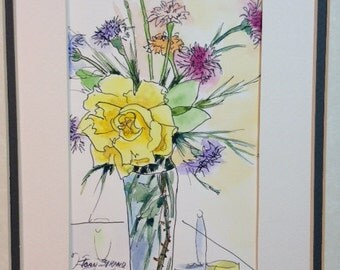 watercolor flower painting A Single Yellow Rose