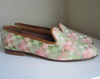 ZALO GREEN & PINK Loafers Size 7.5M