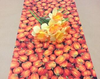 Handmade Tablerunner, 13W x 36L in Orange Pumpkins, Ready to Ship