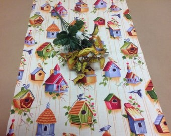 Handmade Tablerunner, 13W x 36L in  Birds and Blue, Red, and Green Birdhouses w/Ivory Background, Ready to Ship