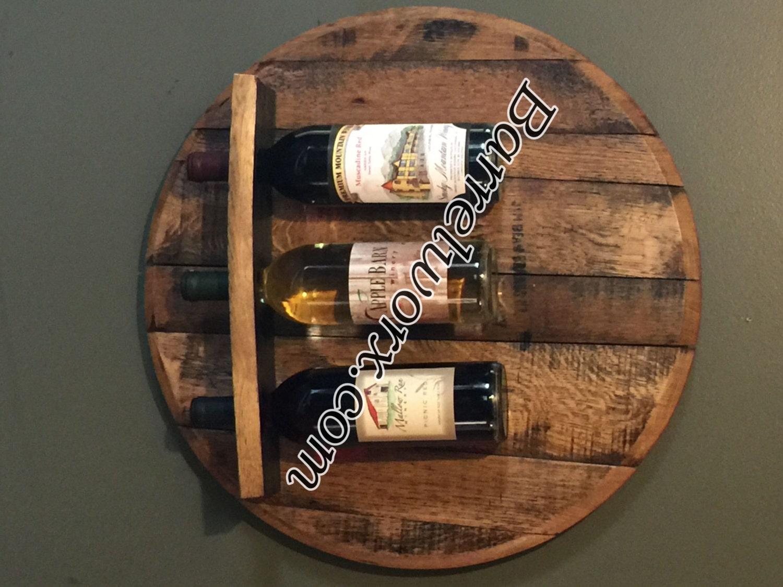 Bourbon Whiskey Barrel Head Wine Rack