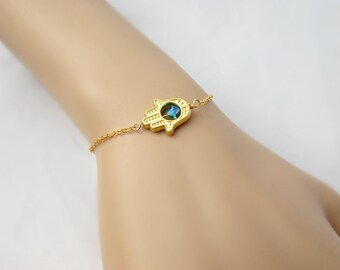 Gold Hamsa Bracelet, Hamsa Bracelet, Hand of Fatima, Bridesmaid Gift, British Seller UK, Hand Bracelet, Gifts for Girls, Gold Bracelet