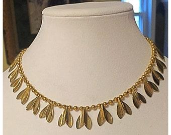 Gold Leaf Chain Necklace, Tulip Petal Charm Necklace, Vintage Necklace