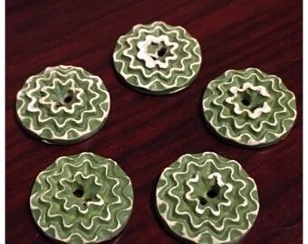 Vintage Buffed Celluloid Green Flower Buttons, Green and White Celluloid, Plastic, Buffed Celluloid Flower Buttons, lot 237