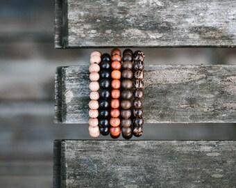 Natural Wood Beaded Beacelets - Free Shipping