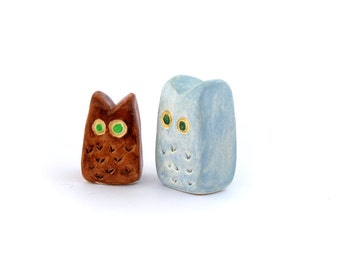 Miniature clay owls, clay animals, tiny figurines, minimalist decor, owl sculpture, owl totem, home decor, small gifts under 20, shelf decor