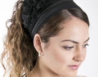 Vintage Flower Half Head tichel Covering in Black, head covering, headscarf, headband, headcovering, hair snood, mitpachat.