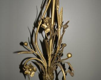 Vintage Hollywood Regency Style Floral Metal Lamp Toleware