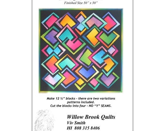 """Pattern """"Diamond Magic"""" Quilt Pattern by Willow Brook Quilts (WBQ215) Paper Pattern"""