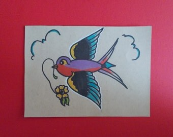 TRADITIONAL SWALLOW TATTOO,hotrod art,swallow art,american traditional tattoo flash,bird painting,roses,flowers,sailor art,old school tattoo
