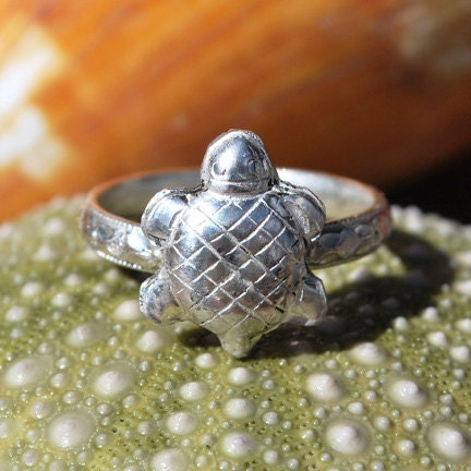 turtle ring tortoise ring sterling silver ring silver