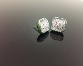 Dichroic Fused Glass Earrings Studs #65