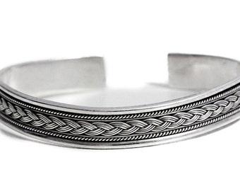 Boho Cuff Bangle Braid Plait Sterling Silver
