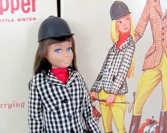 Vintage Skipper Doll, 1960's Brunette Skipper Doll, Dressed Skipper Doll, Learning To Ride, Bendable Leg, Barbie's Little Sister