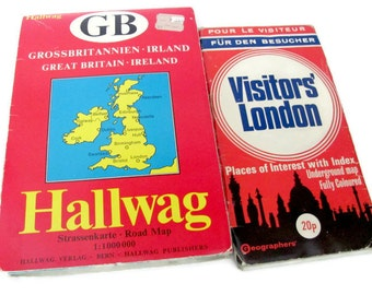 Vintage London Map Lot, London, Great Britain, Ireland Folding Maps, Lot of Maps, Maps for Crafting