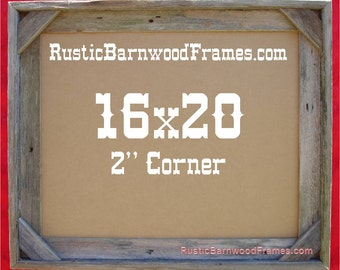 16x20 2 corner rustic barn wood aged weathered reclaimed primitive photo picture frame 16 x 20 unfinished repurposed barnwood frames