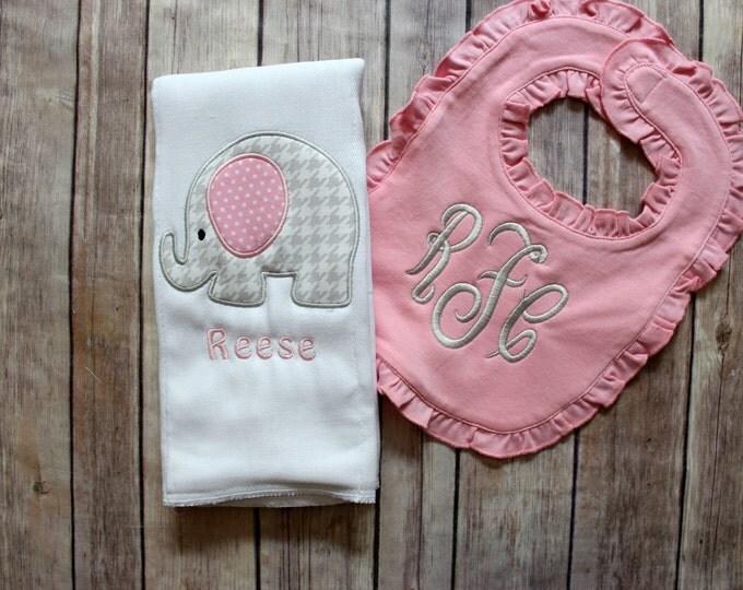 Baby Girl Elephant Burp Cloth Set, Monogrammed Elephant Burp Cloth, Elephant Baby Gift, Personalized Baby Girl Gift, Monogrammed Bib, Baby