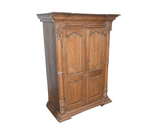 Antique Cabinet Rustic Bedroom Armoire Wardrobe Storage Anglo British teak 18c Eclectic Spanish FREE SHIP SAVE