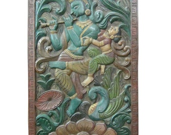 India Carving Krishna Radha Dancers Wall Decor Hand Carved Panel