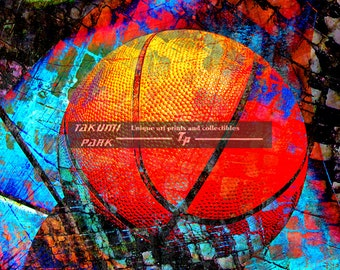colorful basketball art unique artwork home decor