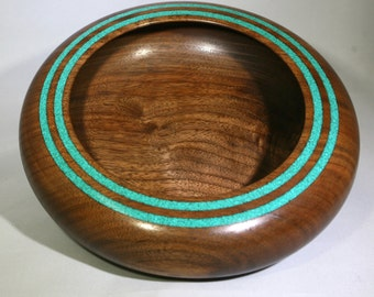 Hand turned walnut bowl with turquoise stripes