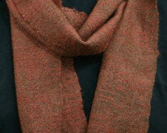 Hand woven autumn colored silk and alpaca scarf