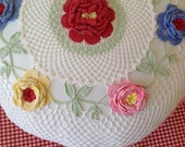Vintage Pillow Case Cover Crocheted Floral Handmade Vintage Bedding Linen Shabby Chic Bedding by picadillymarket
