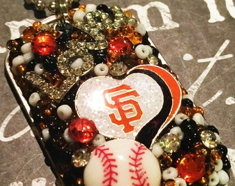 San Francisco Giants Inspired Glitter Heart Bling Embellished Necklace - SF Giants Jewelry - SF Giants Necklace - Baseball Jewelry
