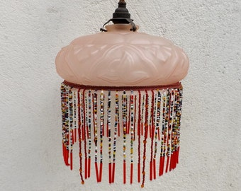 Art deco 1930s French vintage glass beaded light shade pink glass light fixture fringed light shade boho glass ceiling light French home