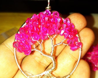 Silver and pink swarvoski tree of life