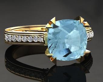 Aquamarine Engagement Ring Cushion Cut Aquamarine Ring 14k or 18k Yellow Gold Matching Wedding Band Available W26AQUAY