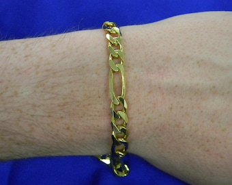 "Sterling Silver Gold Vermeil Bracelet 9.25"" Long ET 6131"