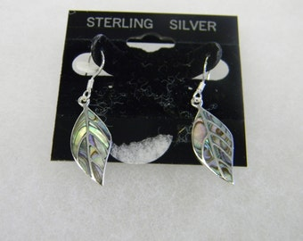 Sterling Silver 925 Multi Colored Leaf pieced earrings #7021