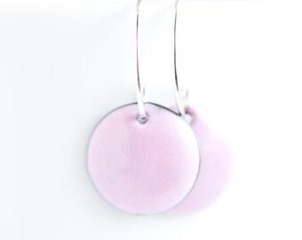 Pretty Pink Earrings, Copper Enamel, Handmade Sterling Silver Ear Wires, 5/8 inch (15mm) Discs, Sweet Simple Earrings, Gift for Girl Woman