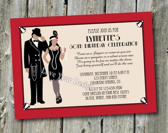 1920s Suit Couple Roaring 20's Flapper Girl Invitation YOU PRINT