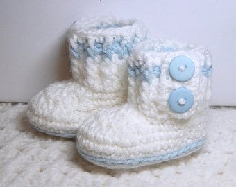 In-Stock - Slip-On Booties - Boots - Size Newborn Baby - Blue, White - Crocheted - Handmade with love,