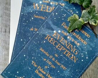10 celestial star chart wedding invitations