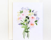 Caroline Rose Bouquet - A2 Greeting Card