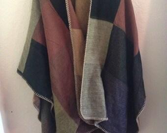 earth tone colorblock soft shawl poncho