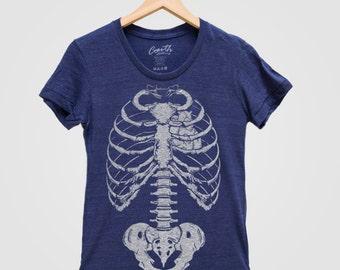 Halloween SKELETON Shirt Women Custom Hand Screen Print Tri-Blend Short Sleeve Tshirt Available: S, M, L, XL