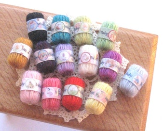dollhouse knitting wool balls 12th scale miniature x 1  beatrix potter 14 shades to choose from