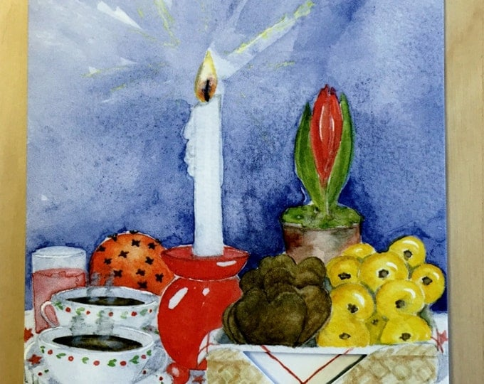 Swedish Christmas Table Dye Cut Blank Card Julbord Handmade Watercolor
