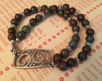 Double Strand Stone Bead Bracelet